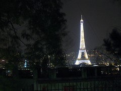 Eiffel Tower at night, seen from Montmatre