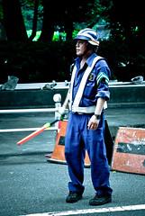 People in and around Ueno-koen X (manganite) Tags: park blue people color men japan digital geotagged asian japanese tokyo nikon uniform asia ueno tl candid helmet streetscene  nippon  koen d200 nikkor dslr nihon kanto 18200mmf3556 utatafeature manganite nikonstunninggallery date:year=2006 geo:lat=35712469 geo:lon=139772709 date:month=july date:day=8 format:ratio=32