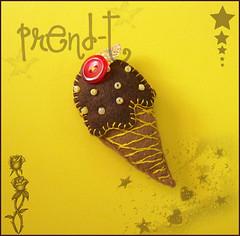 Helado Chocolatero  (PrenD-T) Tags: broche handmade felt feltro helado hechoamano fieltro imperdible