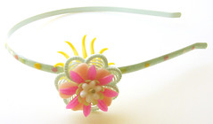 Blue, Pink and Yellow Vintage Flowers Headband