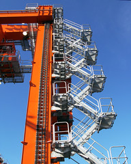 zipper (Seattle rainscreen) Tags: seattle blue sky orange stairs port train washington crane engineering explore zigzag containers switchback g9
