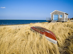 Cape Cod Boat House (Chris Seufert) Tags: ocean blue grass boat capecod dune cottage chatham shack boathouse stockphoto dorey marshgrass christopherseufert cotchpinicut