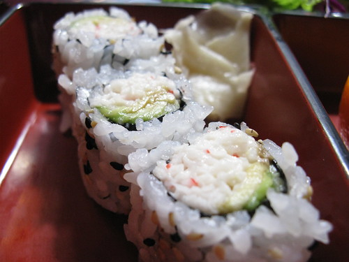 California roll sushi with ginger