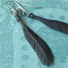 carved black horn crow feather earrings with sterling silver handmade hammered findings
