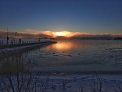 Morning has broken (KaarinaT) Tags: sunrise morning dawn ice snow cold helsinki kaivopuisto icecold icecoldmorning sea icedover sun seafog fog mist