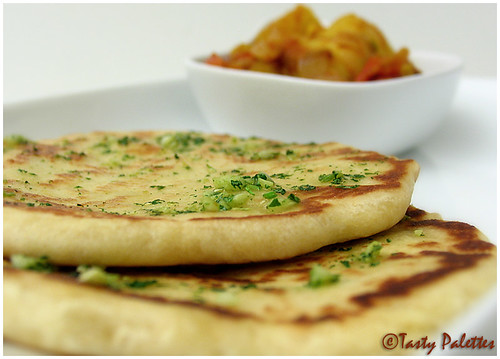 Garlic Herb Naan with Aloo Masala