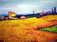 vangosh-ish (Carolyn Sue Lewis) Tags: rural painting oil hay vangogh