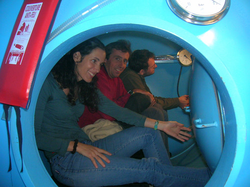 Entering the decompression chamber