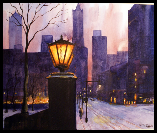 Manhattan winter. Watercolour