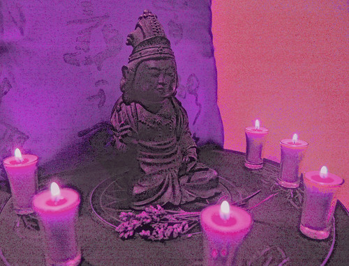 Bodhisattva Mahasthamaprapta, Vajrapani in Peaceful form purple with candles, Korean style, lylac offering, Seattle, Washington, USA by Wonderlane