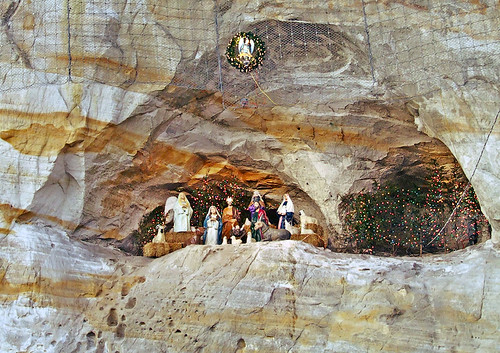 Nativity scene, in cliff face, in Pacific, Missouri, USA