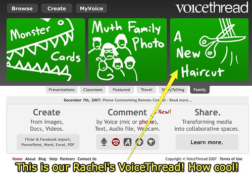 "Rachel's ""New Haircut"" featured on VoiceThread under Family"