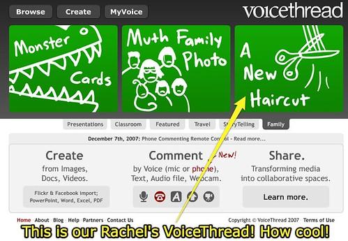"Rachel's ""New Haircut"" featured on VoiceThread under Family"