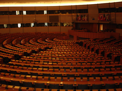 The EU parliament chamber.
