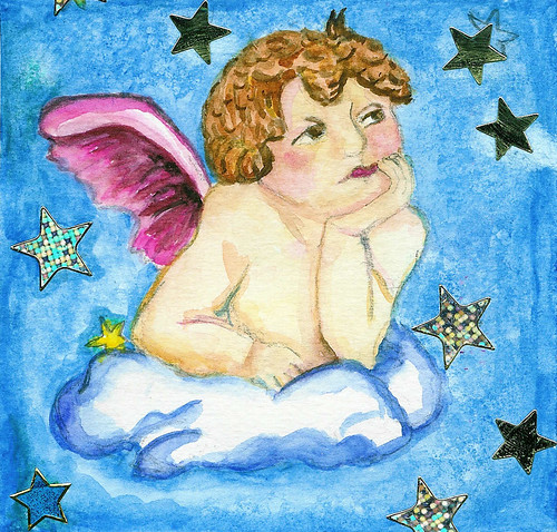 Daily Art Card no 01 Angel  by iHanna, Copyright Hanna Andersson