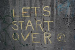 Lets Start Over (eddiemalone) Tags: pictures streetart stencils word graffiti stencil sticker stickers fitzroy paintings australia melbourne written fit 2007 pasteups letsstartover