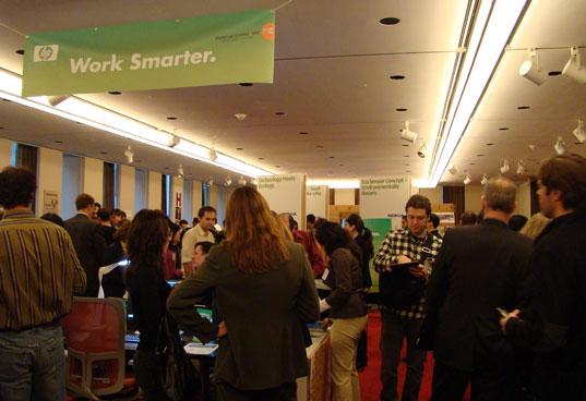 Crowds in the Greener Gadgets Showroom