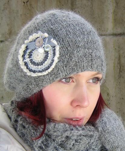 Grey mohair beret