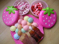 Retro sweets delivery!!! (kittypinkstars) Tags: pink mushrooms flying yummy strawberry candy cola bottles retro kawaii sweets lunchboxes jelly fangs sherbert saucers handycandy