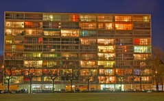Flats (Vin on the move) Tags: longexposure windows light urban color building colors night photoshop switzerland suisse geneve nikond70 hdr meyrin tonemapped 5exp vin