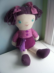 purple Wee Wonderful with horse giraffe out (mamazakka) Tags: doll soft purple yarn fabric hilarylang wewonderful