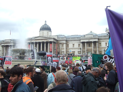Arriving at Trafalgar Square