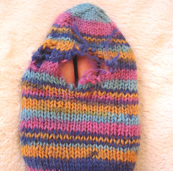 Hole in sock, pre-darning