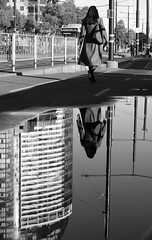 - (_barb_) Tags: street blackandwhite reflection water puddle australia melbourne docklands
