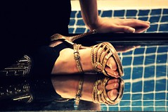 through a glass, darkly (bryenh) Tags: feet girl mirror model shoes reflexions photoshow colourartaward