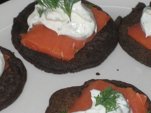 smoked salmon blini with creme fraiche