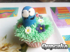 Blue ({ Qupcake }) Tags: pink blue flower cute home yummy heart sweet chocolate made cupcake bones icing qatar flinstones qupcake