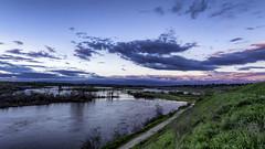 San Joaquin River Sunset (punahou77) Tags: sanjoaquinriver river nature nikond500 fresno fishing sierras sierranevada sky stevejordan sunset punahou77 california centralvalley color bluff blue clouds grass