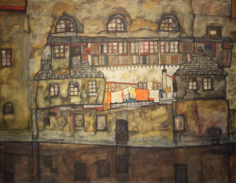 Egon Schiele, Hauswand am Fluss [House Wall on the River], 1915