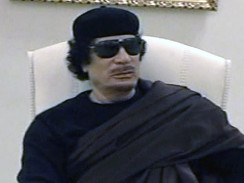 Libyan leader Muammar Gaddafi on national television while holding a meeting with traditional leaders. Gaddafi has been subjected to four assassination attempts since March 19. by Pan-African News Wire File Photos