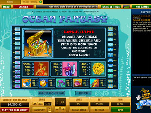 free Ocean Fantasy slot game paytable