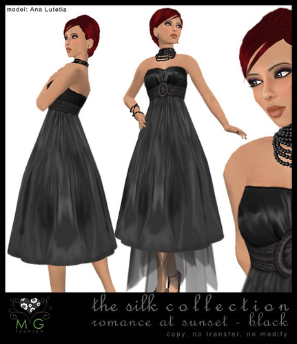 [MG fashion] The Silk Collection - Romance at sunset (black)