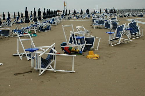 Storm creates havoc on the Giulianova Lido beach chairs