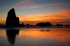 Ocean Of Fire (Dan Sherman) Tags: ocean sunset beach oregon coast pacificnorthwest oregoncoast cannonbeach beachsunset oceansunset cannonbeachoregon oregonbeach beachrocks supershot pacificnorthwestcoast oregoncoastsunset coastsunset flickrdiamond