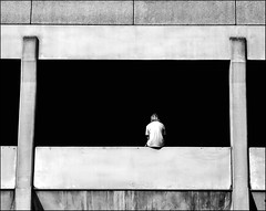 What's the opposite of two? (ro_nya) Tags: street people urban bw back solitude sitting candid explore carpark rcken einsamkeit einsam 123bw ronyagalkacom