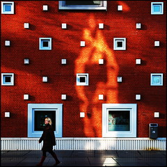Lux eterna (Maerten Prins) Tags: red white reflection wall nijmegen yes lux explored