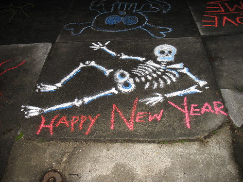 New Year's Eve chalk graffiti