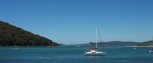 Yacht moored off Ettalong Beach