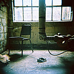 the chair (paulhitz) Tags: old usa color 120 film rural geotagged holga xpro rust map decay michigan tag slide tagged chrome rusting geo geotag grounds proving c6 packard mapped c41 120cfn cfn historicmichigan paulhitz packardprovinggrounds expdet123007