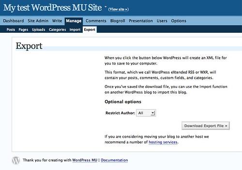 WPMU: I can haz export!