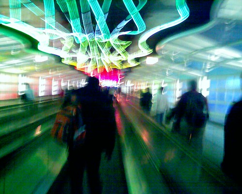 Image of a Psychedelic Walkway at Chicago O'Hare Airport