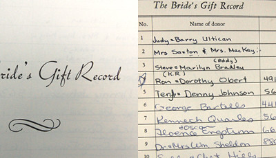 bride's gift record - my parent's pages
