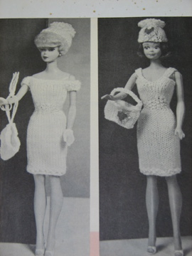 Two 1960s Barbie knit dresses