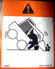 Bobcat Throws-up Stickman (See El Photo) Tags: 15fav signs sign danger warning ouch triangle funny stickman machine machinery stickfigure haha bobcat 3f scoop exclamation funnysign minitractor 1f faved unbalanced 2f tippedover
