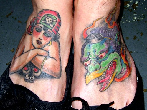Hector Fong's Feet Tattoos by Chris Conn / Chris Garver