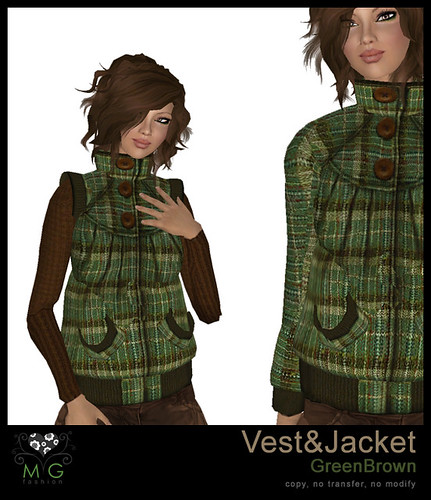 [MG fashion] Vest&Jacket (GreenBrown)